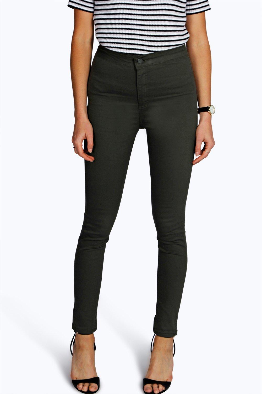 Stretch High Waist Jeans khaki