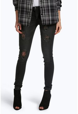 Lisa Low Rise Distressed Skinny Jeans