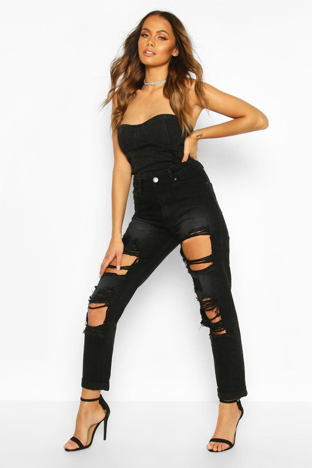 Maisie Black Dirty Wash Distressed Mom Jeans