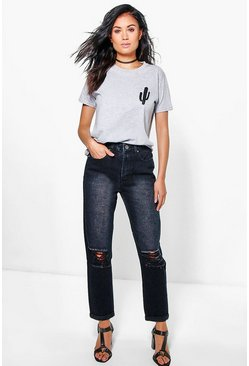 Cara Black Dirty Wash Knee Rip Mom Jeans