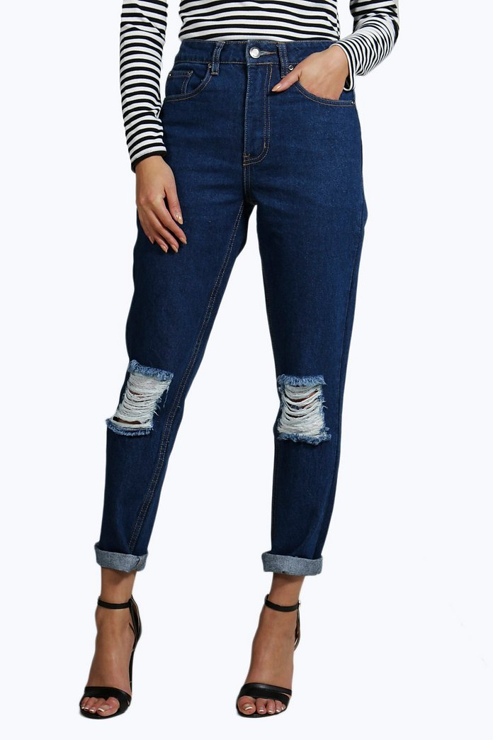 Cara 70's Wash Knee Rip Mom Jeans