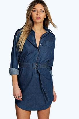 Sarah Long Sleeve Belted Denim Shirt Dress