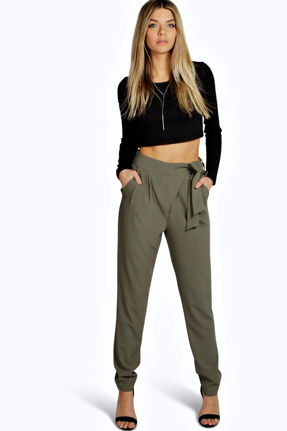 Wrap Front Tie Waist Tailored Trousers  khaki