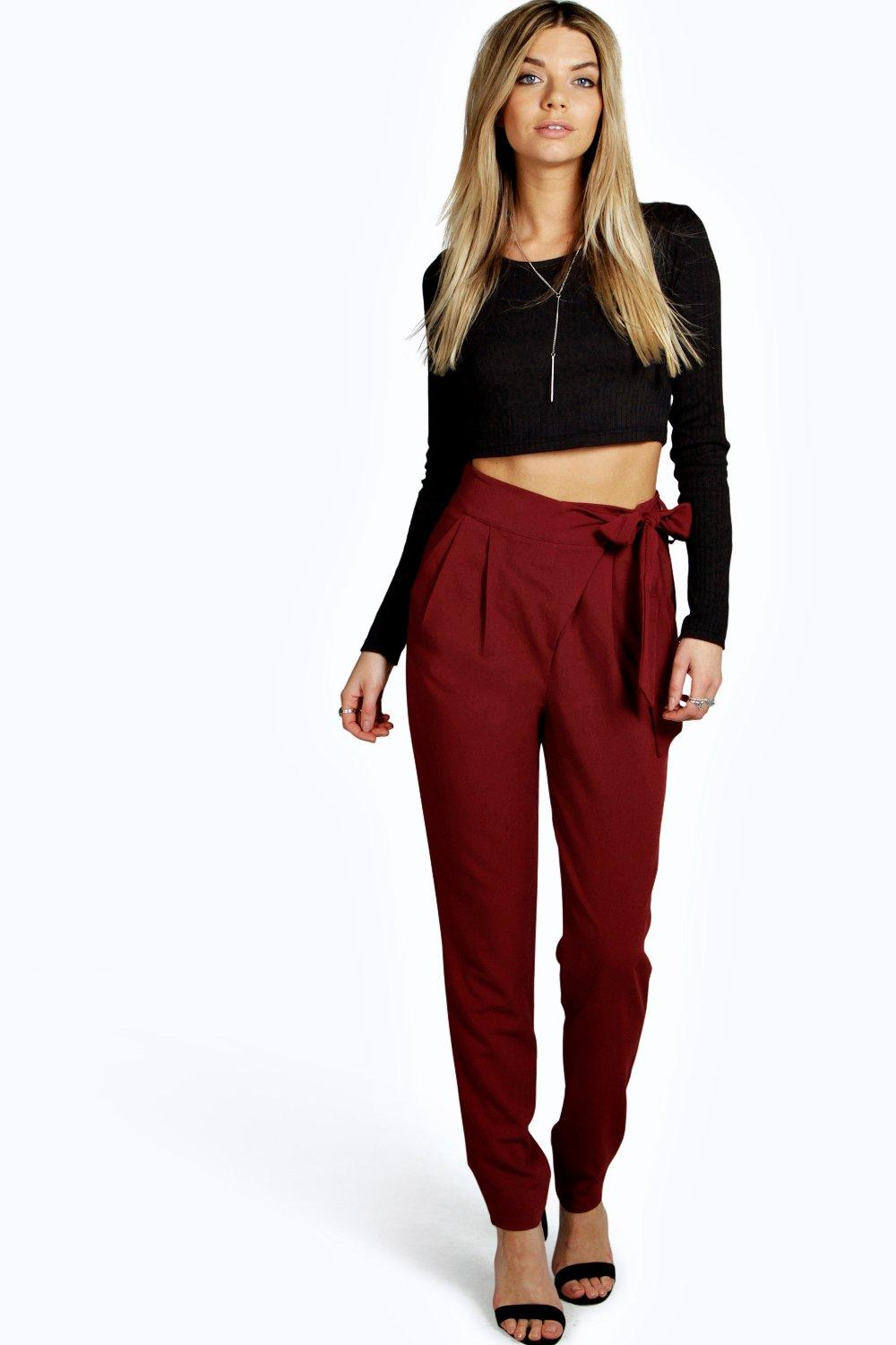 Sevilla Wrap Front Tie Waist Tailored Trousers