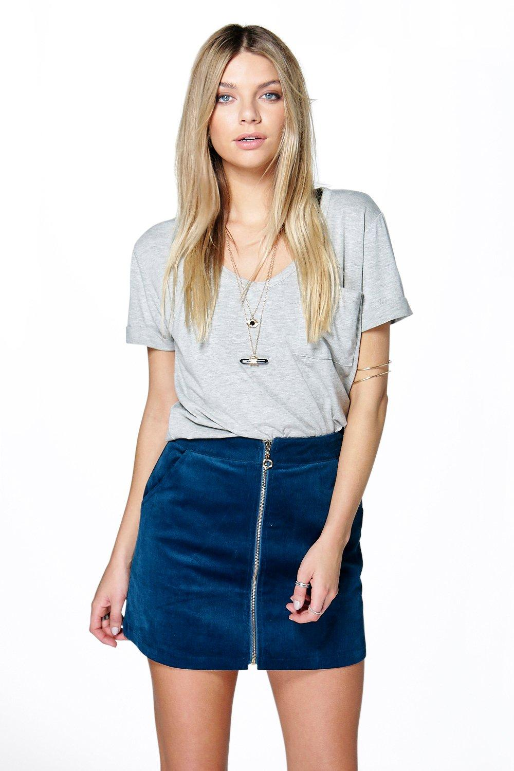 Product photo of Zip front cord mini skirt blue