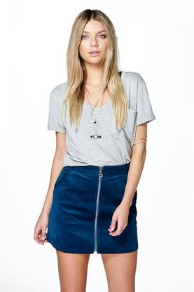 Lorelie Zip Front Cord Mini Skirt