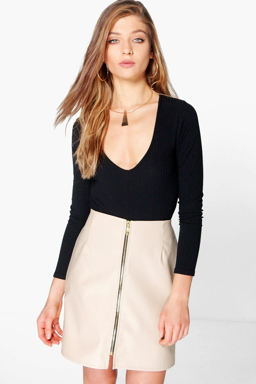 Etta Zip Front Leather Look Mini Skirt