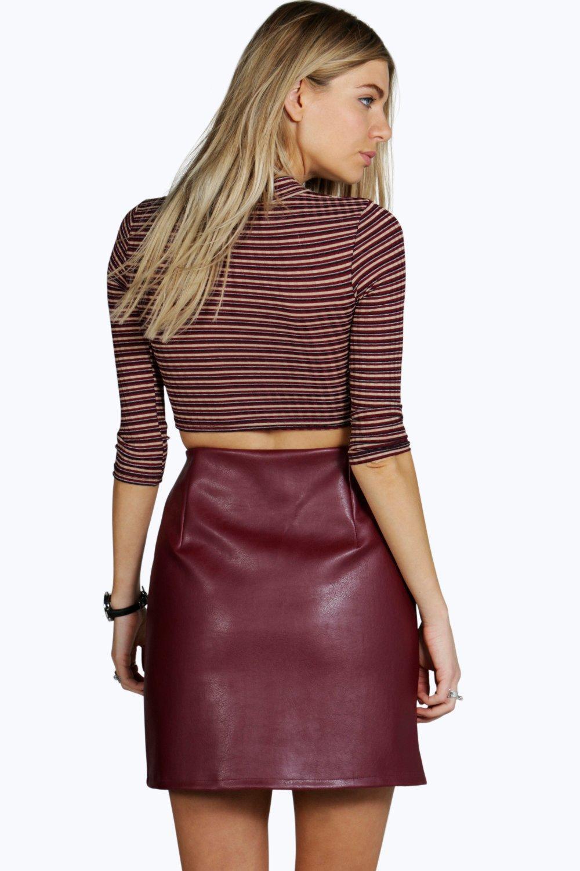 Etta Zip Front Leather Look Mini Skirt at boohoo.com