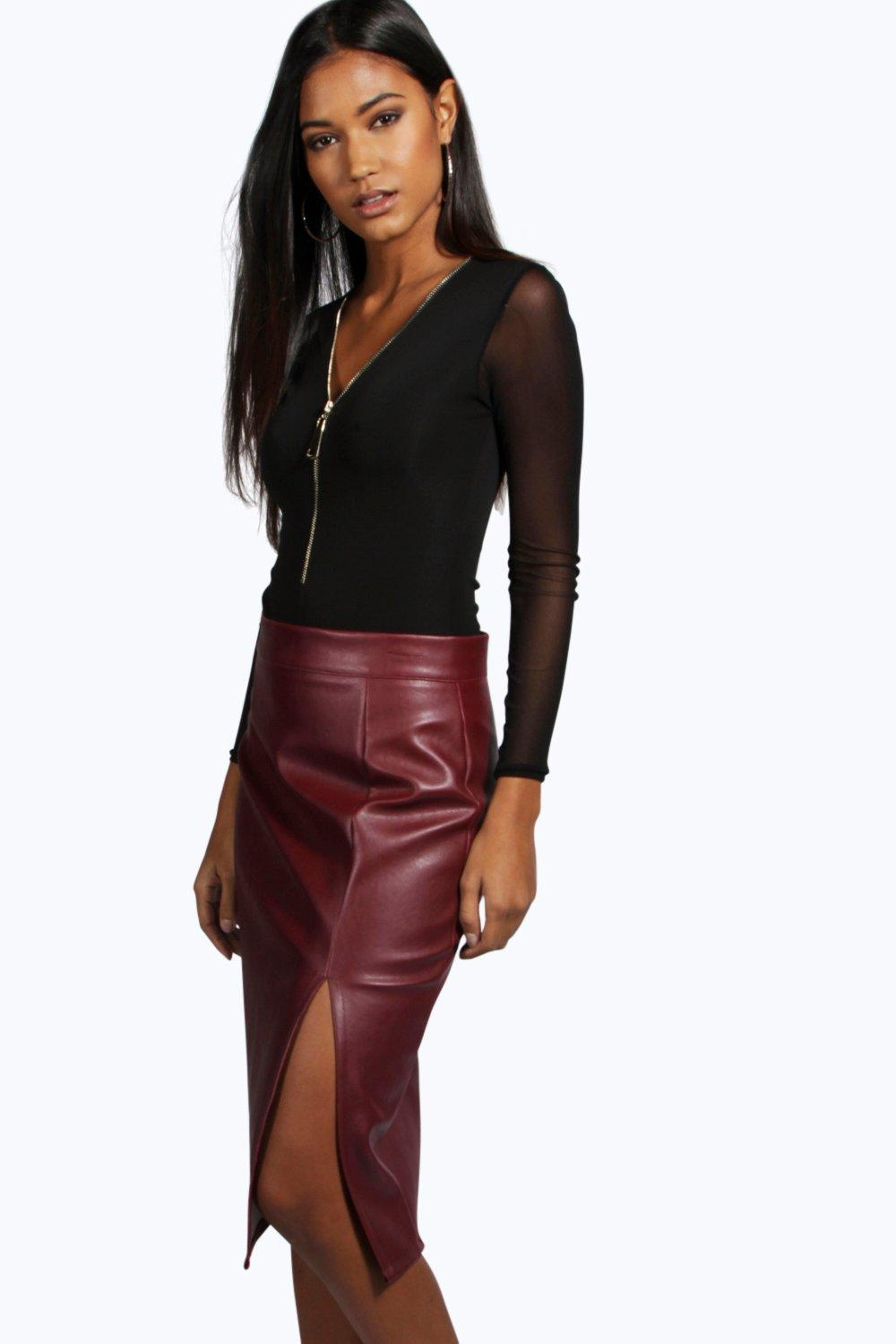 Heidi Side Split Leather Look Midi Skirt