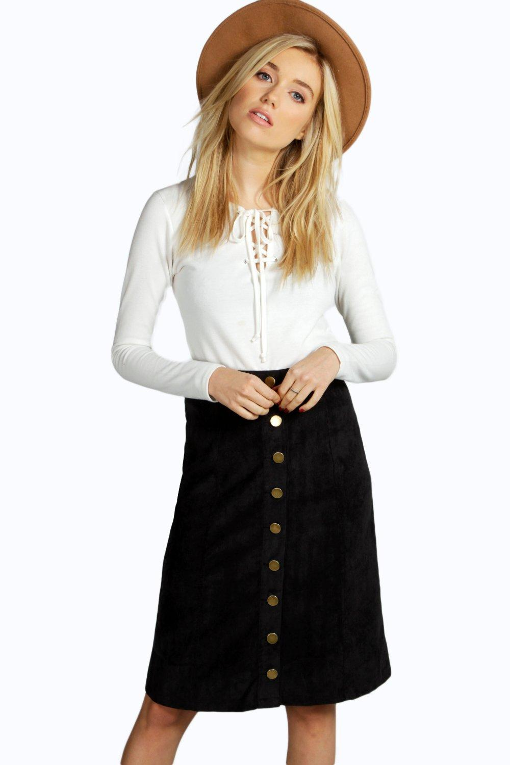 Avery Button Front Cord A Line Midi Skirt