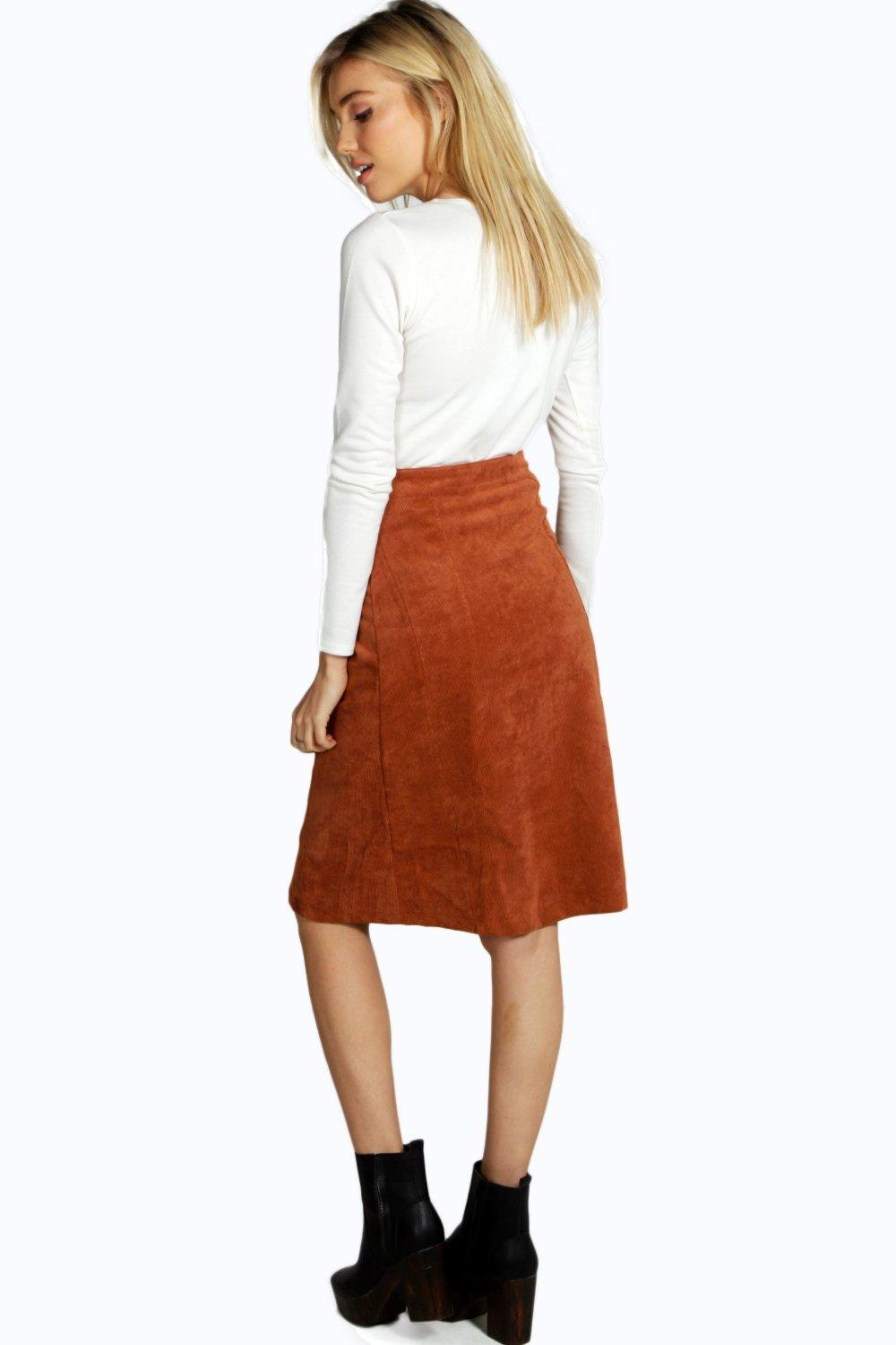 Avery Button Front Cord A Line Midi Skirt | Boohoo