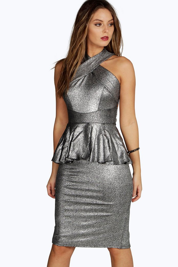 Megan Metallic Peplum Cross Strap Midi Dress