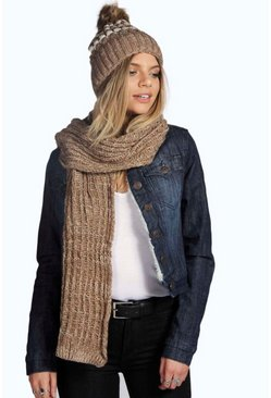 Mia Stripe Chunky Knit Beanie And Scarf Set