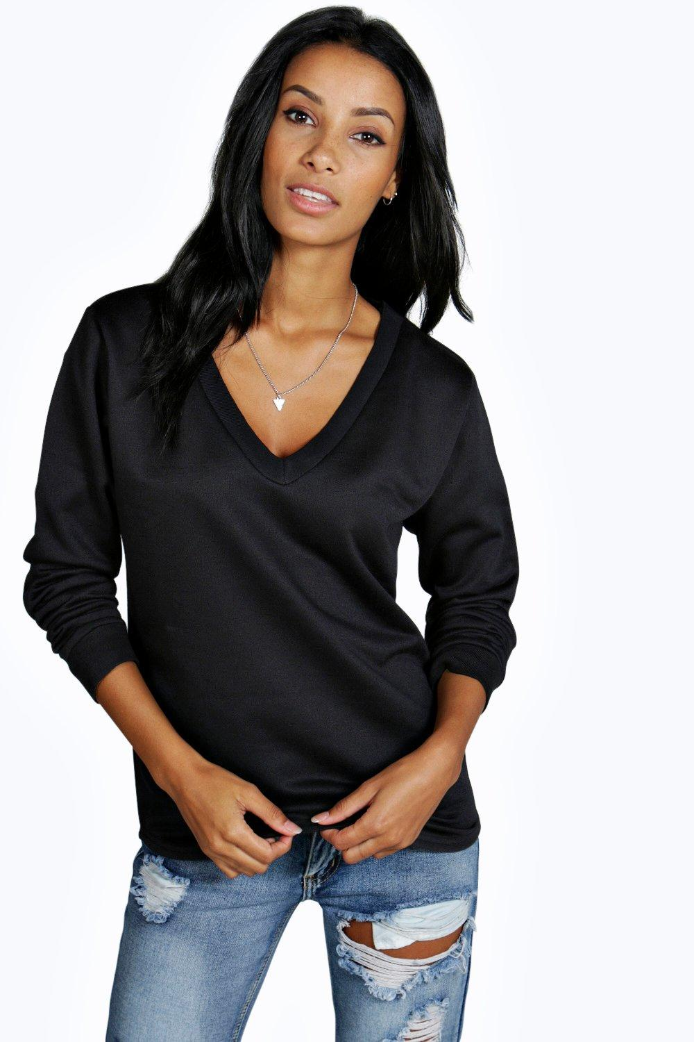 Rebecca V Neck Long Sleeve Sweat Top
