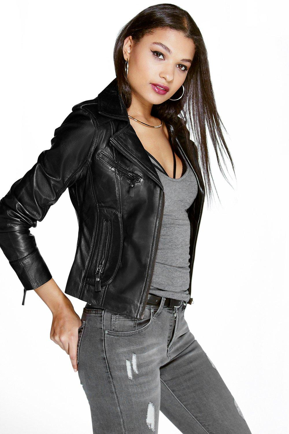 Leather jacket boohoo - Boutique Zoe Leather Biker Jacket Hover To Zoom