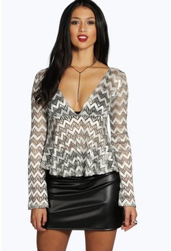 Aoife Metallic Lace L/S Peplum