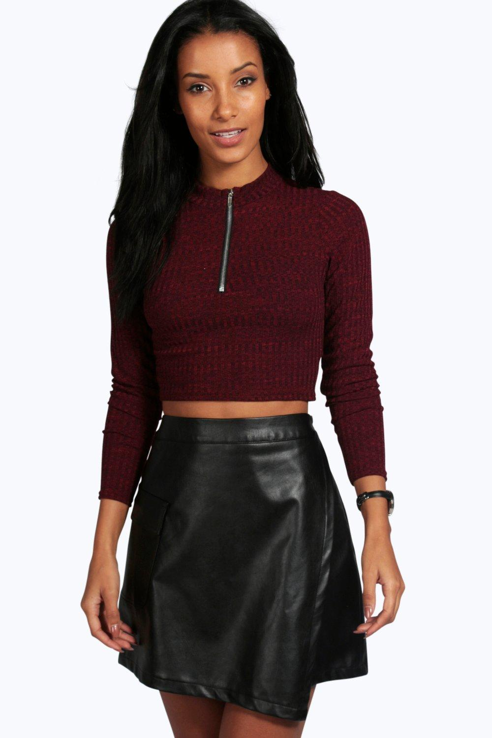 Shannon Zip High Neck Textured Crop Top