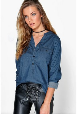 Kate Utility Patch Pocket Denim Shirt