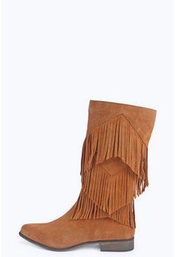 Boutique Maria Leather Fringe Calf Boot
