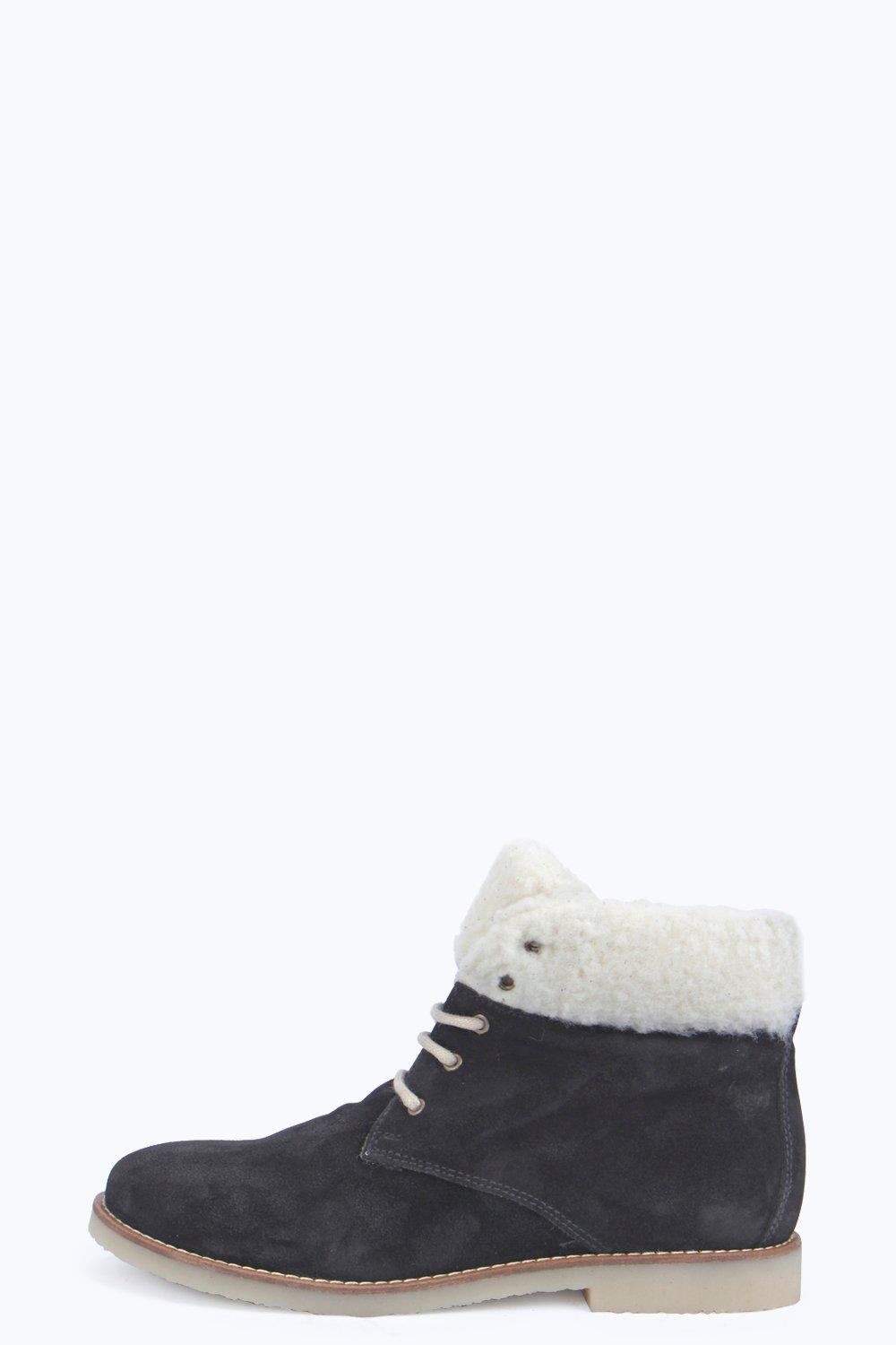 Boutique Bella Leather Lace Up Shearling Boot