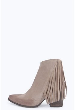 Boutique Emma Leather Fringe Western Boot