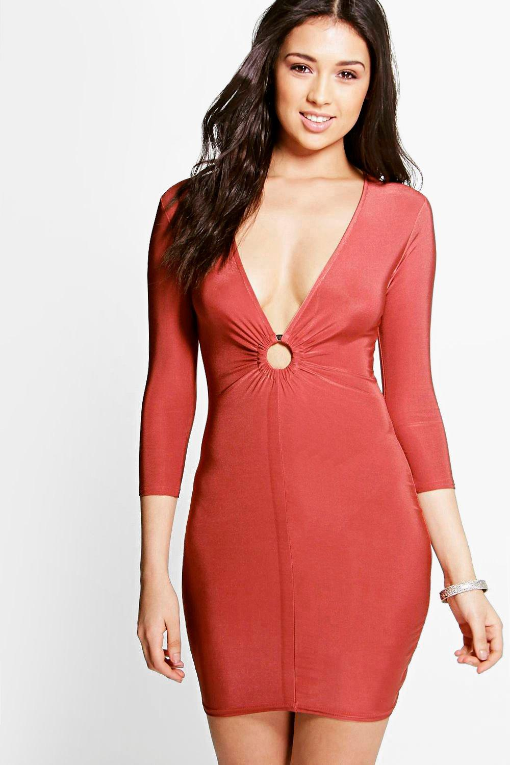 Sana Ring Detail Slinky Bodycon Dress