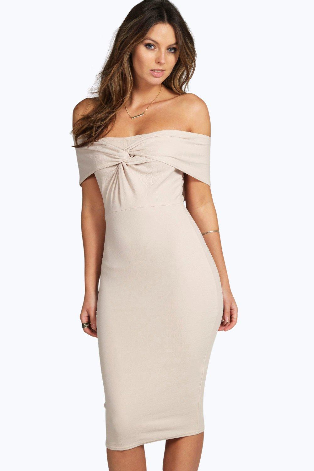 Iris Off The Shoulder Twist Detail Bodycon Dress