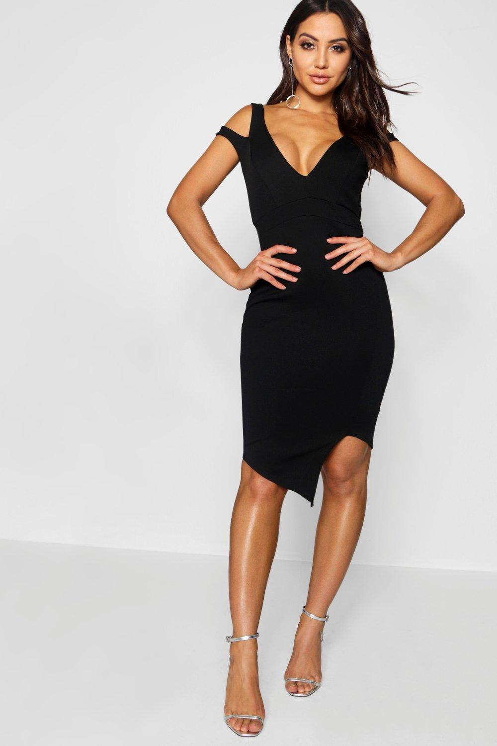 Cut Out Asymmetric Bodycon Dress  black