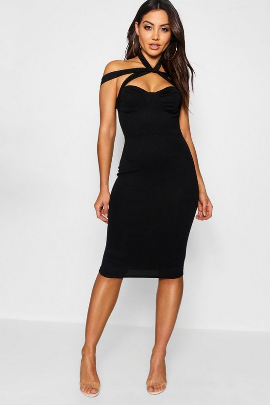 Rita Strappy Top Detail Midi Bodycon Dress