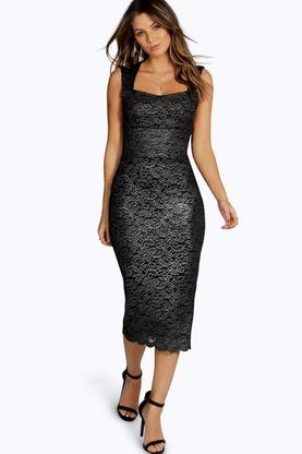 Tilly Metallic Scallop Lace Sweetheart Midi Dress