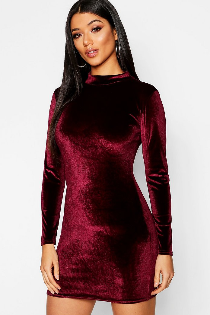 Frances Velvet High Neck Bodycon Dress