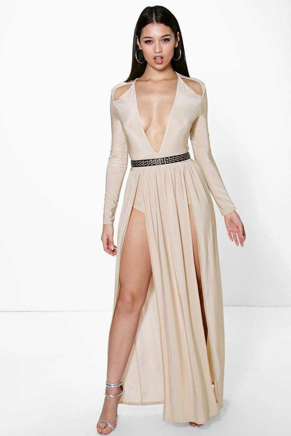 Details about boohoo womens amy long sleeve square neck plunge maxi