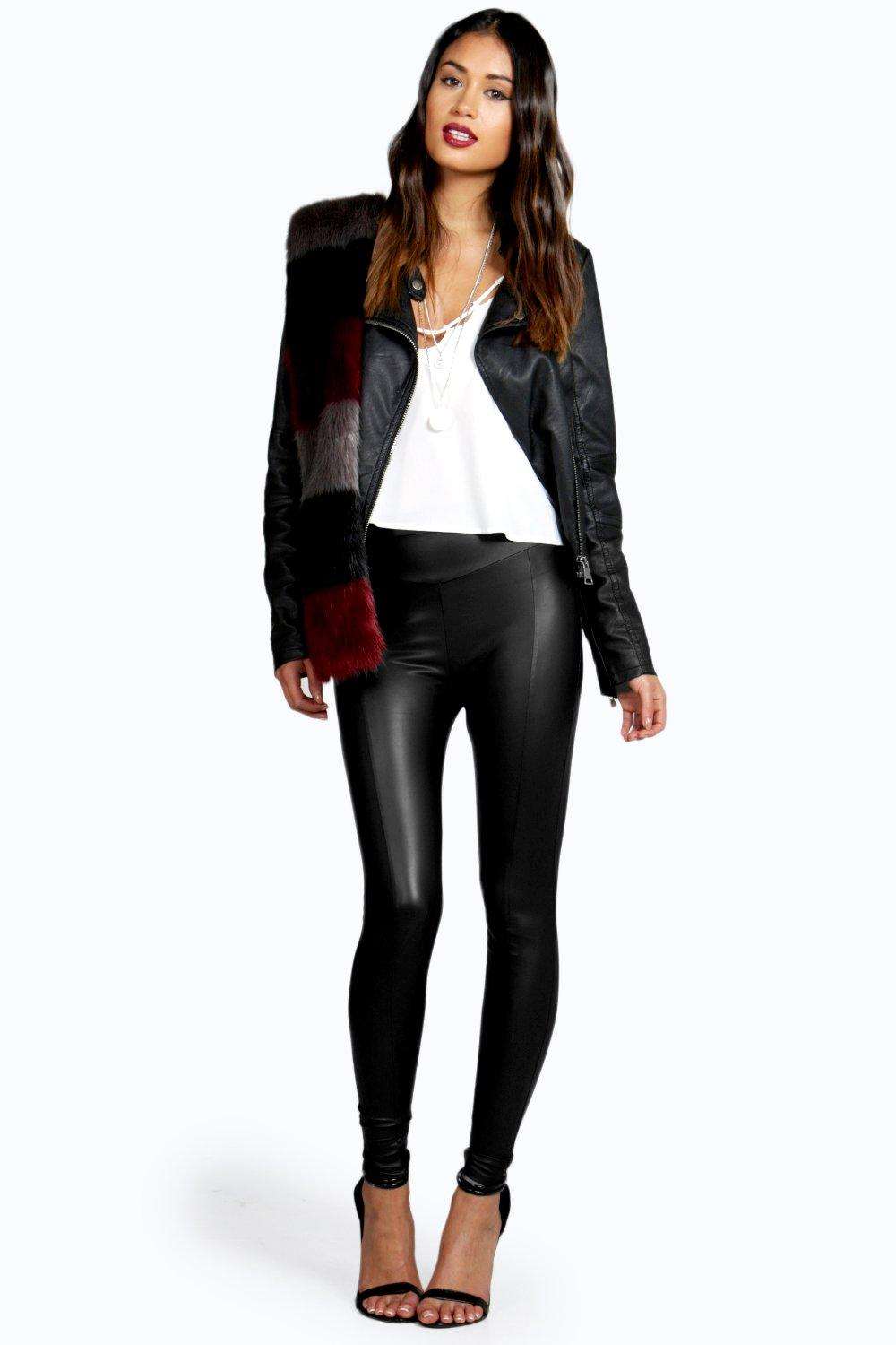 Valentina Seamed Front Leather Look Legging black