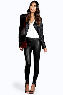 Valentina Seamed Front Leather Look Legging