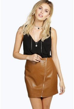 Dixie Zip Detail Leather Look Mini Skirt