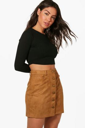Aalia Button Front Suedette A Line Mini Skirt