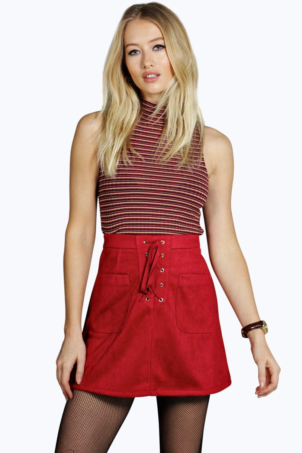 Tie Front Suedette Pocket A Line Mini wine