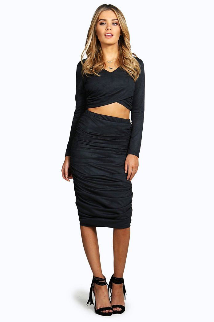 Danika Rouched Side Suedette Midi Skirt