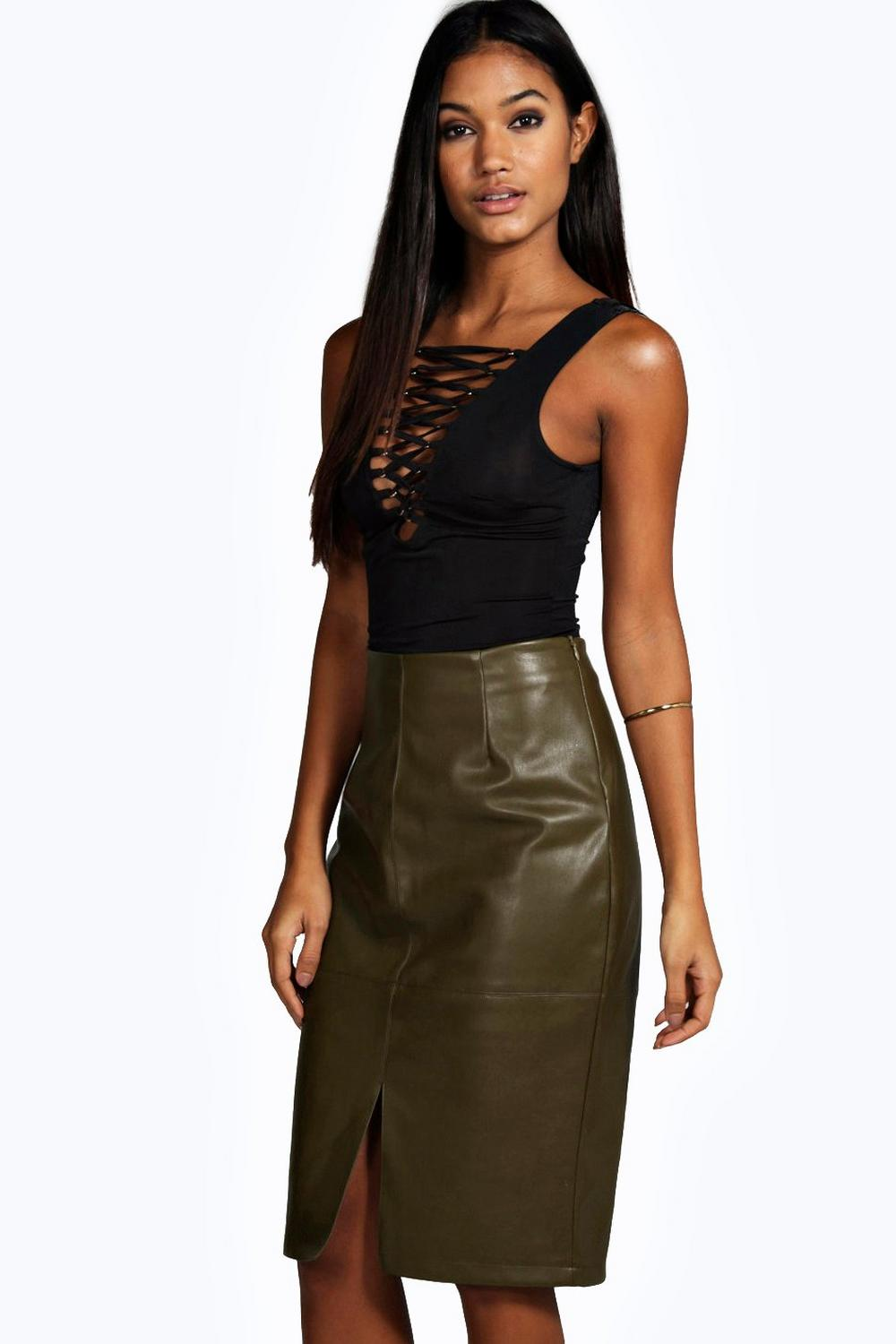 Ellora Split Front Seamed Leather Look Mini Skirt