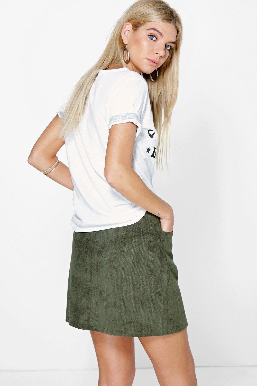 Fallen Button Front Cord A Line Mini Skirt
