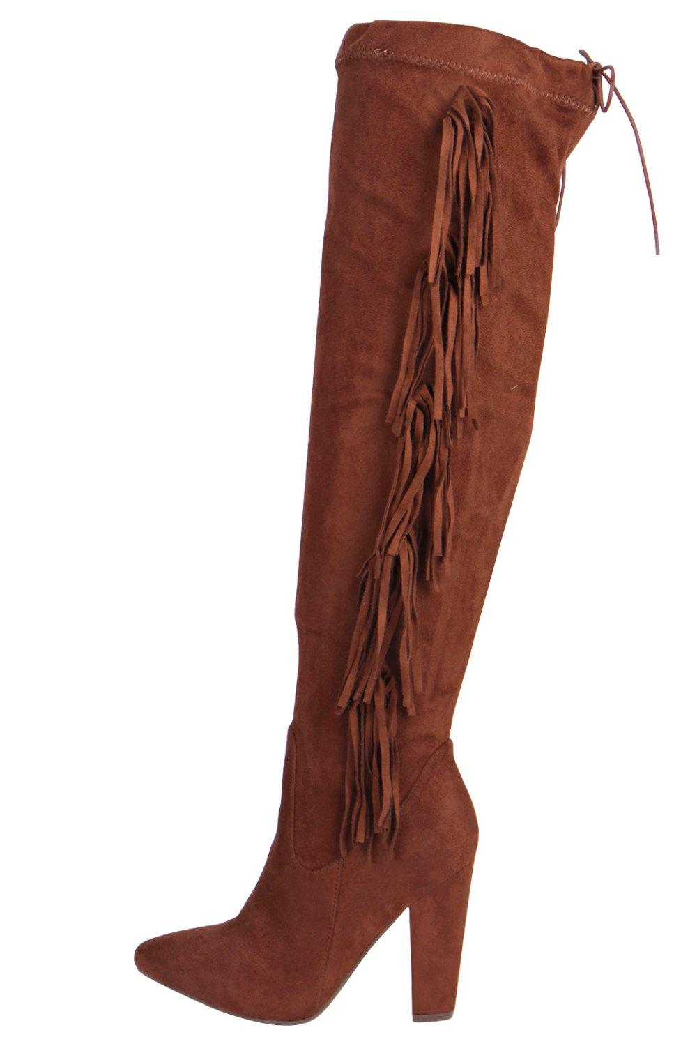 Katie Fringe Back Knee Boot