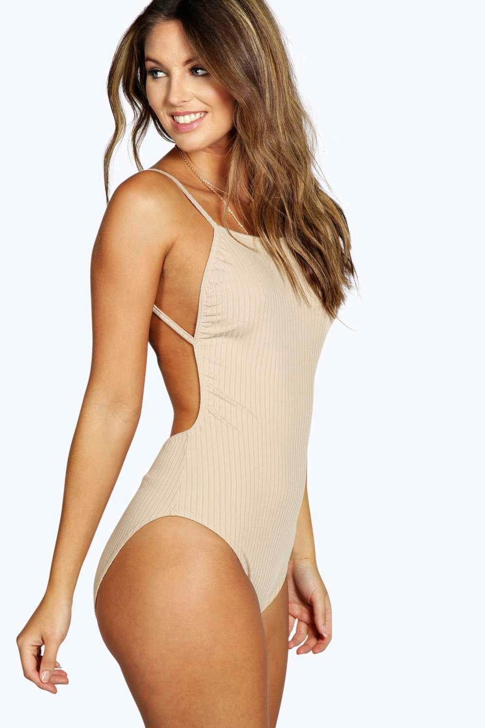 Leah Marl Ribbed Backless Body