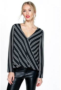 Sofia Striped Wrap Front Long Sleeve Blouse