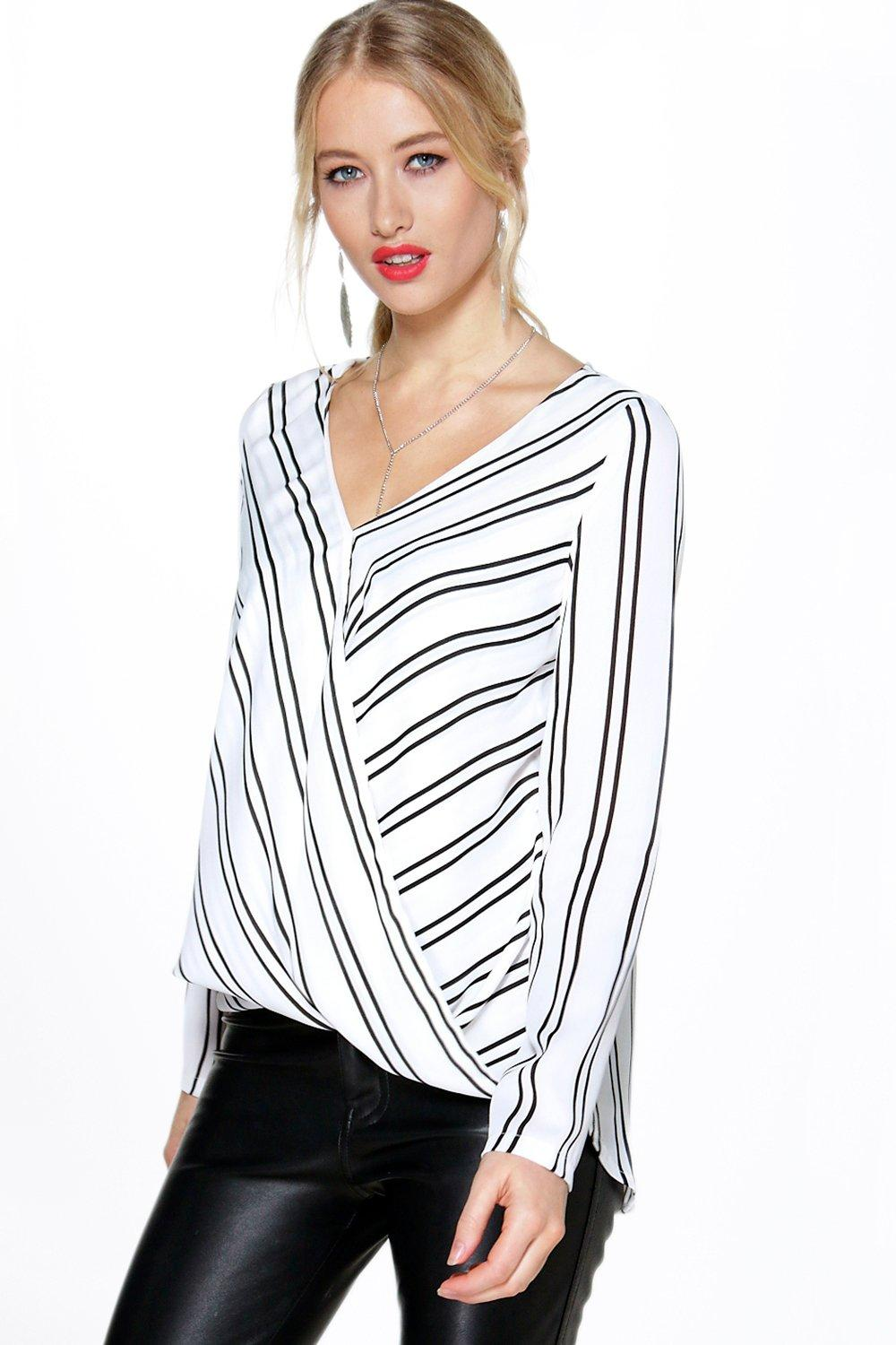 Sofia Striped Wrap Front L/S Blouse