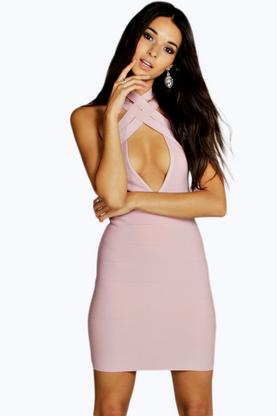 Premium Boutique Gia Wrap Front Bandage Bodycon Dress