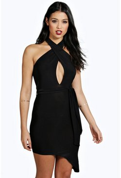 Ayanna Slinky Cross Front Asymmetric Hem Dress