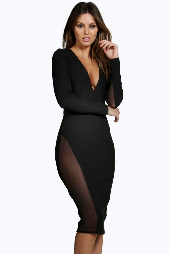 Aanya Mesh Insert Midi Bodycon Dress