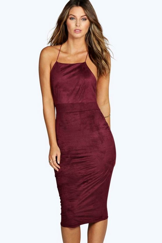 Layla Square Neck Midi Suedette Dress