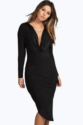 Azalea Slinky Cowl Ruched Midi Bodycon Dress