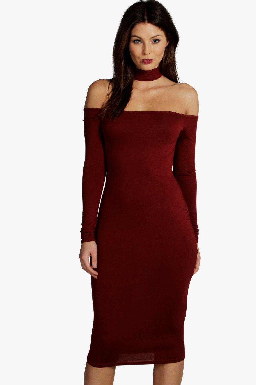 Jasmine Off Shoulder Neck Detail Midi Dress